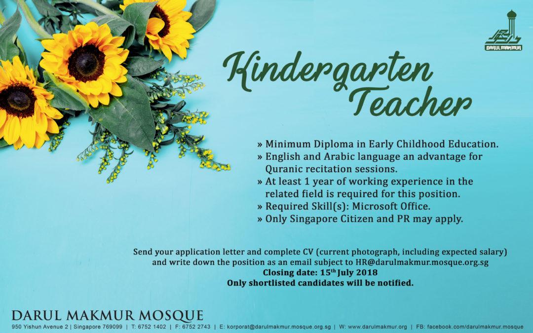 Job Vacancy: Kindergarten Teacher