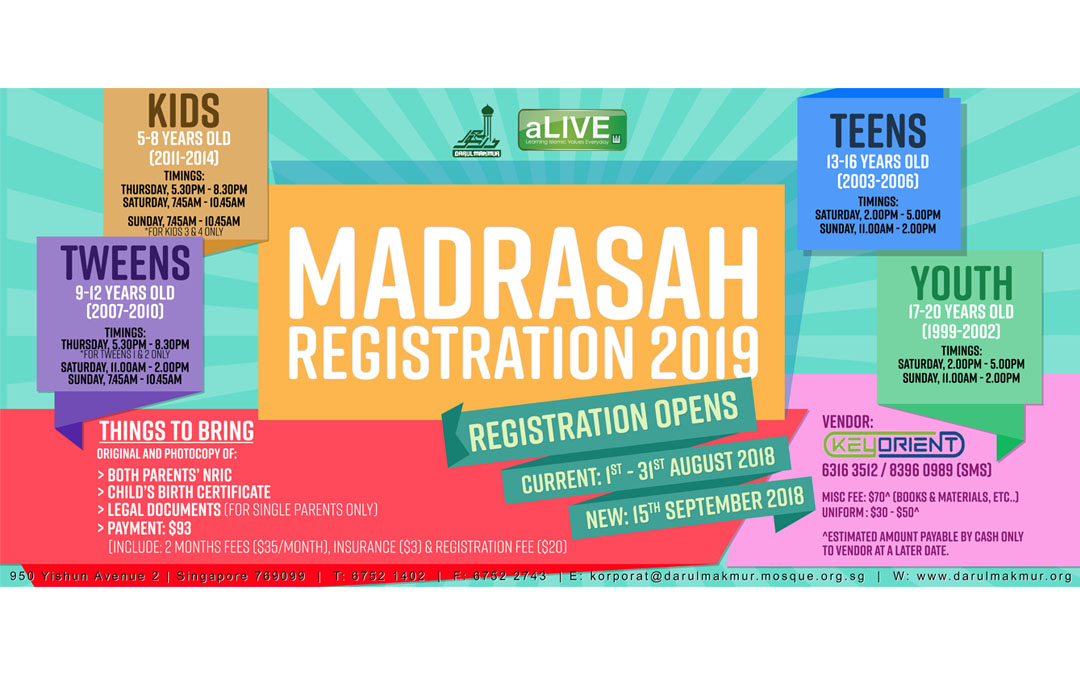 Registration 2019: aLIVE Madrasah